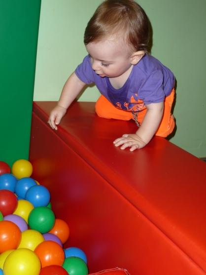 Climb into ball pits.