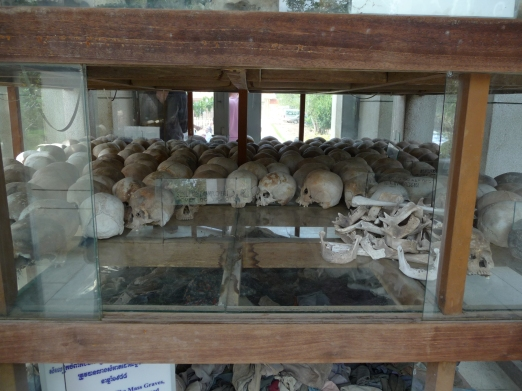 At the killing fields.  Skulls recovered from some of the mass graves.