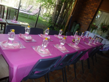 The table all set up and pretty before the guests arrived.