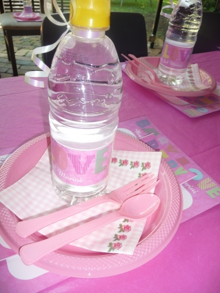 Each setting consisted of a sheet to write your wishes for Baby Girl Marini, High Tea menu and plan and a matching bottle of spring water.