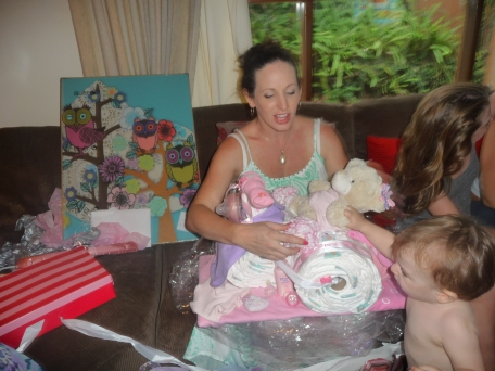 Always was secretly jealous  of people who had nappy cakes, now I am one of them!  A nappy trike from Cassie, Hollie and Kathy.