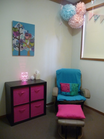 Nursing chair - free from gumtree.  Owl wall art and cube storage unit - Ikea.  Owl lamp - I Love Lights.