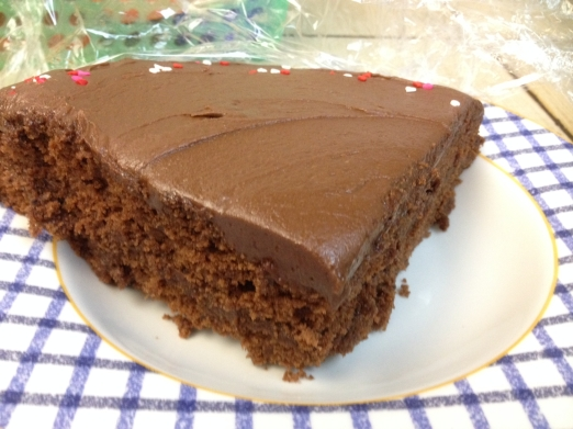 Nigella Lawson chocolate cake with icing on the top AND in the middle!
