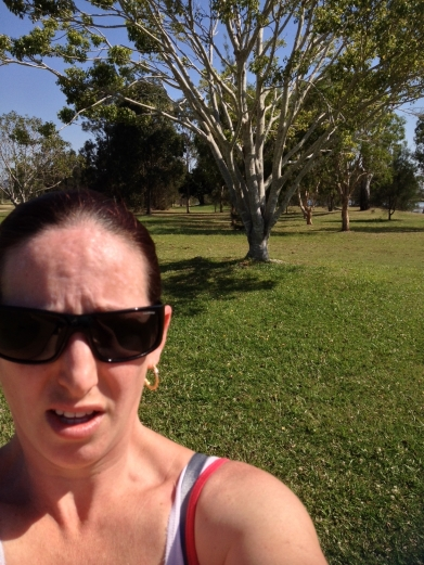 This is me trying to catch my breath at the end of my first run.  Before I collapsed.